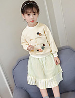 cheap -Girls' Daily Going out Floral Letter Clothing Set, Cotton Spring Fall Long Sleeves Cute Active Beige