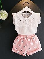 Недорогие -Девочки Набор одежды Хлопок Цветочный принт Лето Без рукавов Белый