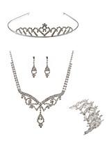 abordables -Femme Tiare Nuptiales Parures Strass Européen Mode Mariage Soirée Imitation Diamant Alliage Bijoux de Corps 1 Collier 1 Bracelet Boucles
