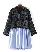preiswerte -Damen Einfarbig Freizeit Ausgehen T-shirt,V-Ausschnitt Langärmelige Baumwolle