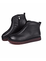 cheap -Women's Shoes Nappa Leather Cowhide Winter Fall Comfort Bootie Boots Chunky Heel for Casual Black Brown