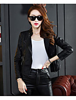 cheap -Women's Daily Casual Winter Fall Leather Jacket,Solid Stand Long Sleeve Short PU
