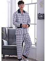 abordables -Costumes Pyjamas Homme Moyen Polyester Bleu Gris