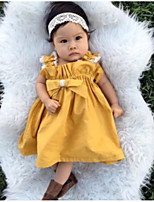 cheap -Girl's Daily Going out Solid Dress, Polyester Summer All Seasons Sleeveless Cute Active Yellow