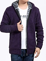 cheap -Men's Daily Wear Short Cardigan,Solid V Neck Long Sleeves Cotton Winter Fall Opaque Inelastic