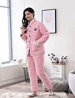abordables -Costumes Pyjamas Femme Epais Cachemire Rose Claire Fuchsia