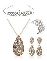 preiswerte -Damen Tiara Braut-Schmuck-Sets Strass Europäisch Modisch Hochzeit Party Diamantimitate Aleación Tropfen Körperschmuck 1 Halskette 1