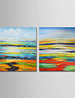 cheap -Hand-Painted Abstract Square, Comtemporary Simple Modern Canvas Oil Painting Home Decoration Two Panels