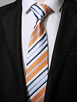 cheap -Men's Polyester Necktie, Casual Striped All Seasons Yellow