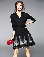cheap -MAXLINDY Women's Party Going out Vintage Street chic A Line Sheath DressPatchwork V Neck Knee-length 3/4 Sleeve Polyester Winter Fall High Waist