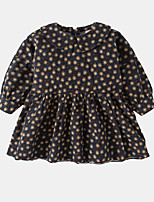 cheap -Girl's Daily Floral Dress, Cotton Spring Long Sleeves Simple Brown Navy Blue