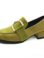 Недорогие -Для женщин Обувь Полиуретан Весна Осень Удобная обувь Обувь на каблуках На толстом каблуке Круглый носок для Повседневные Черный Желтый