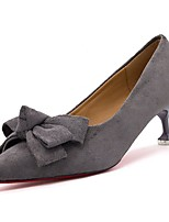 cheap -Women's Shoes Cashmere Spring Comfort Heels Stiletto Heel Pointed Toe Bowknot for Casual Khaki Gray Black