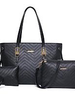 cheap -Women Bags PVC PU Bag Set 3 Pcs Purse Set Zipper for Casual Outdoor All Season Fuchsia Dark Blue Black Champagne