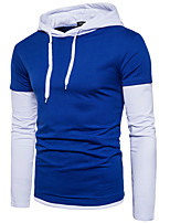 cheap -Men's Petite Daily Casual Hoodie Color Block Hooded Hoodies Micro-elastic Polyester Long Sleeve Winter Fall