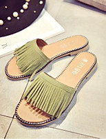 cheap -Women's Shoes PU Summer Comfort Slippers & Flip-Flops Flat Heel Closed Toe for Casual Outdoor Gray Green Almond