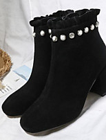 cheap -Women's Shoes Nappa Leather Cowhide Winter Fall Comfort Bootie Boots Chunky Heel for Casual Black Almond