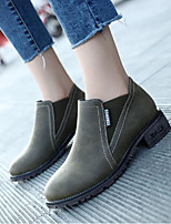 cheap -Women's Shoes PU Winter Fall Combat Boots Boots Chunky Heel Round Toe Booties/Ankle Boots for Casual Khaki Green Black
