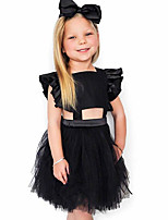 cheap -Baby Girl's Daily Solid Dress, Cotton Linen Bamboo Fiber Acrylic Spring Simple Sleeveless Black Blushing Pink