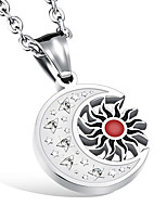 cheap -Men's Moon Star Casual Fashion Pendant Necklace Rhinestone Titanium Steel Pendant Necklace , Other Daily