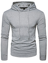 cheap -Men's Sports Hoodie Solid Hooded Micro-elastic Cotton Long Sleeve Spring/Fall