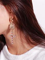 abordables -Femme Boucles d'oreille goutte Boucle d'oreille Strass Classique Rétro Imitation de perle Alliage Croix Forme de Cercle Bijoux Soirée