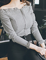 cheap -Women's Casual/Daily Street chic Shirt,Check Bateau Long Sleeves Cotton