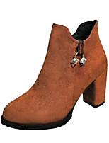 Недорогие -Для женщин Обувь Полиуретан Зима Осень Удобная обувь Ботинки На толстом каблуке Закрытый мыс Ботинки для Повседневные Черный Желтый