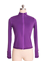 cheap -Figure Skating Top Women's Girls' Ice Skating Top Violet Black Spandex Stretchy Performance Practise Skating Wear Solid Long Sleeves Ice
