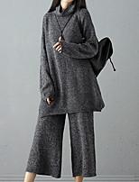 economico -Felpa Pantalone Completi abbigliamento Da donna Per uscire Semplice Inverno,Tinta unita Poliestere Manica lunga