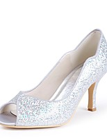 cheap -Women's Shoes Paillette Spring Summer Basic Pump Wedding Shoes Stiletto Heel Peep Toe Sequin for Wedding Party & Evening Silver