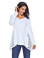 preiswerte -Damen Solide Street Schick Alltag T-shirt,V-Ausschnitt Winter Langärmelige Polyester Elasthan Undurchsichtig