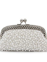 cheap -Women Bags Polyester Evening Bag Crystal Detailing Pearl Detailing for Wedding Event/Party All Season Beige White Champagne