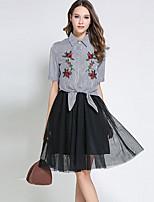 Недорогие -Для женщин Офис Весна Рубашка Юбки Костюмы Рубашечный воротник,Изысканный Полоски Половина рукава,Полиэстер
