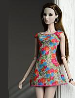Недорогие -Платья Платья Для Кукла Барби Оранжево-красный Платье Для Девичий игрушки куклы