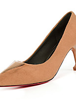 cheap -Women's Shoes PU Spring Fall Comfort Heels Stiletto Heel for Outdoor Almond Pink Brown Black