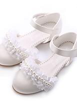 Недорогие -Девочки обувь Кружева Сатин Весна Лето Крошечные Каблуки для подростков Обувь на каблуках Аппликация Искусственный жемчуг На липучках для
