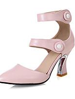 preiswerte -Damen Schuhe PU Frühling Sommer Neuheit Komfort High Heels Stöckelschuh Spitze Zehe Schleife Schnalle für Hochzeit Party & Festivität