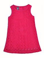 cheap -Girl's Daily Solid Dress,Cotton Summer Sleeveless Cute Princess Red
