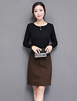 cheap -Women's Casual/Daily Simple Fall T-Shirt Skirt Suits,Solid Round Neck Long Sleeves Cotton