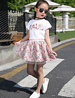 Недорогие -Девочки Набор одежды Повседневные Школа Хлопок Цветочные/ботанический Буквы Лето Осень С короткими рукавами На каждый день Розовый Темно