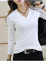 cheap -Women's Daily Casual Winter Fall T-shirt,Solid V Neck Long Sleeve Polyester Opaque