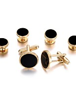 cheap -Circle Golden Cufflink Set Gold Plated Fashion Party Gift Men's Costume Jewelry