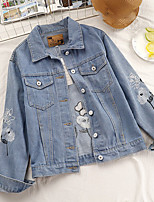 cheap -Women's Daily Casual Fall Denim Jacket,Print Shirt Collar Long Sleeve Regular Cotton Embroidered