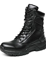 cheap -Men's Shoes Nappa Leather Winter Fall Fashion Boots Combat Boots Fluff Lining Boots Mid-Calf Boots Rivet for Outdoor Office & Career Black