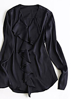 cheap -Women's Going out Sexy Blouse,Solid V Neck Long Sleeve Cotton Polyester