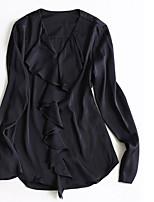 Недорогие -Для женщин На выход Блуза V-образный вырез,Секси Однотонный Длинные рукава,Хлопок Полиэстер