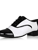 cheap -Latin Leather Oxford Heel Low Heel Black/White Customizable