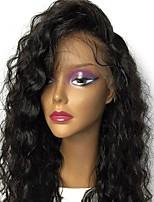 Недорогие -Натуральные волосы Бразильские волосы Кружевной парик Волнистый Свободные волны С пушком Бесклеевая сплошная кружевная основа