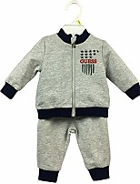 cheap -Baby Boys' Daily Solid Print Clothing Set,Cotton Spring Fall Simple Cute Casual Long Sleeve Light gray